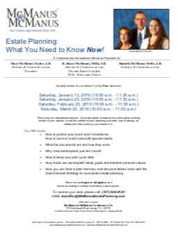 McManus Estate Planning Workshops